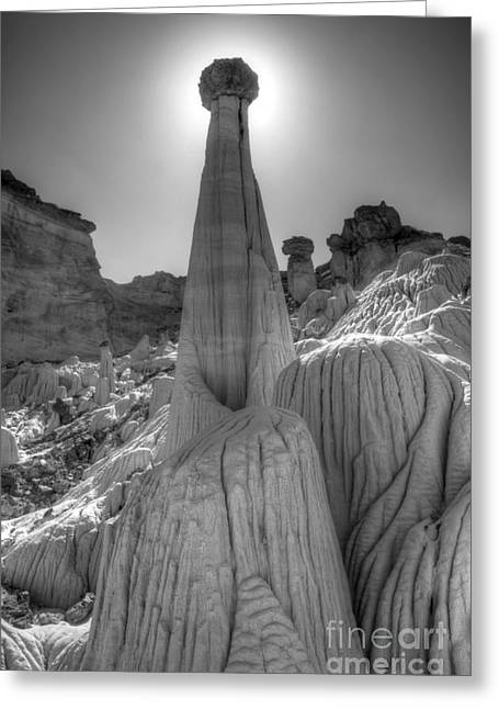 Wahweap Greeting Cards - Tower Of Silence Monochrome Greeting Card by Bob Christopher