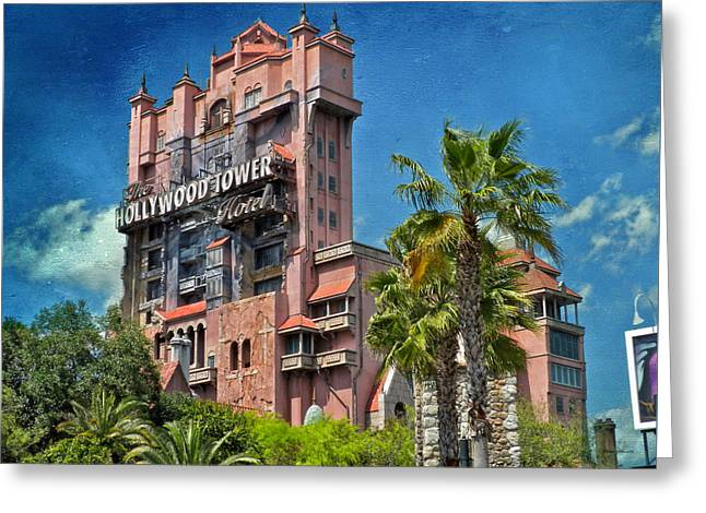 Tower Of Terror Disney World Textured Sky Greeting Card by Thomas Woolworth