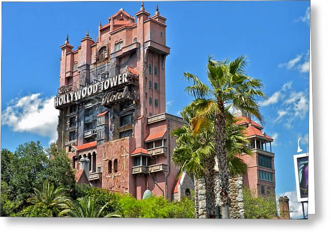 World Showcase Lagoon Greeting Cards - Tower of Terror Greeting Card by Thomas Woolworth