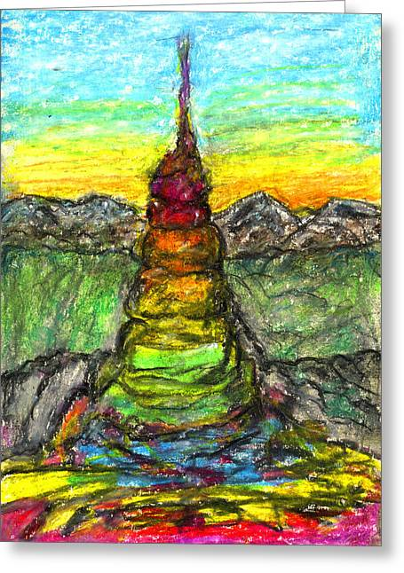 Concentration Pastels Greeting Cards - Tower of The Spirit Greeting Card by Yuri Lushnichenko