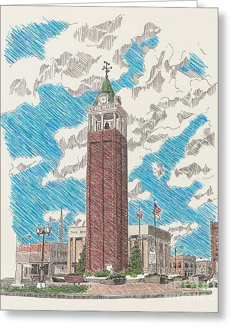 Town Square Drawings Greeting Cards - Tower on the Square Greeting Card by Shawn Vincelette