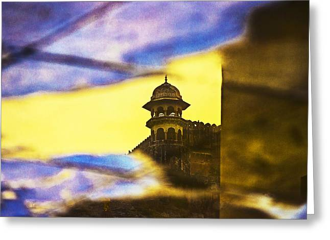 Sunset Abstract Photographs Greeting Cards - Tower Reflection Greeting Card by Prakash Ghai