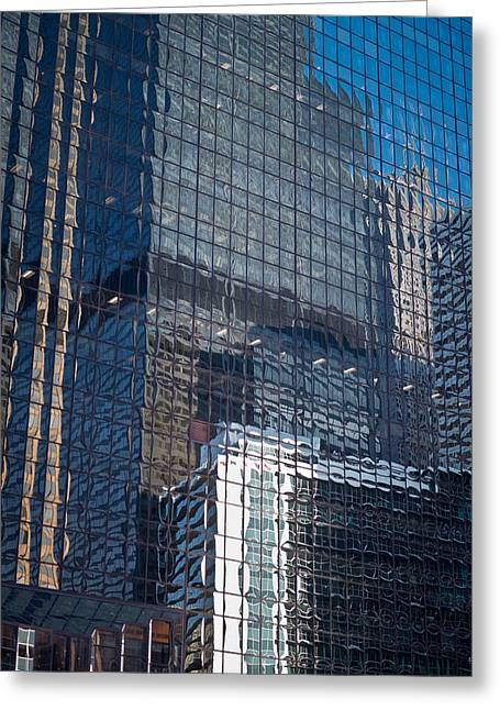 Chicago Reflections Greeting Cards - Tower Reflections Greeting Card by Steve Gadomski