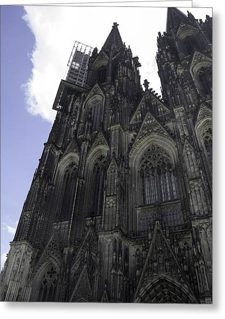 Medieval Entrance Greeting Cards - Tower Scaffolding Cologne Cathedral Greeting Card by Teresa Mucha