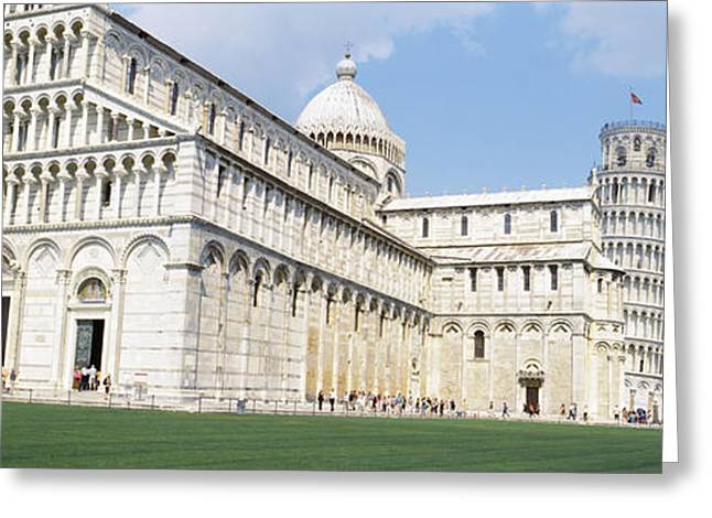 Pisa Greeting Cards - Tower With A Cathedral, Leaning Tower Greeting Card by Panoramic Images