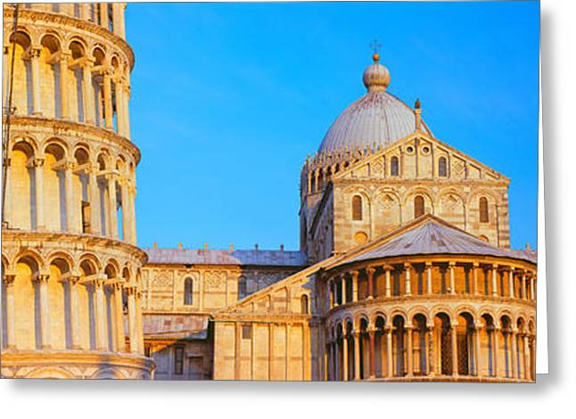 Pisa Greeting Cards - Tower With A Cathedral, Pisa Cathedral Greeting Card by Panoramic Images
