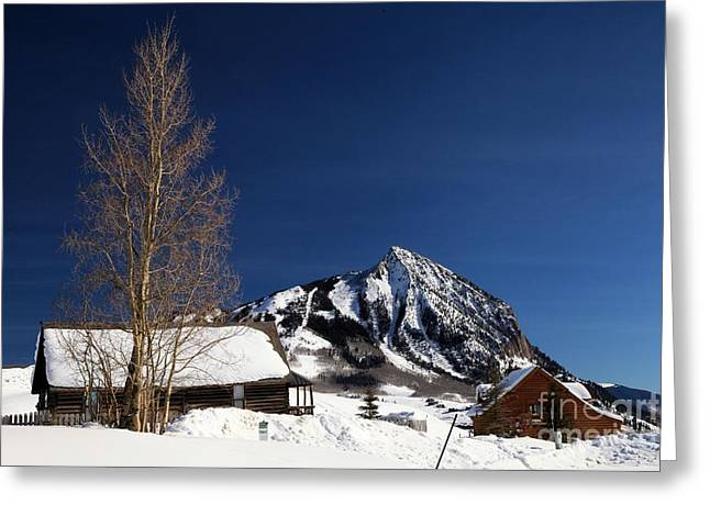 Mountain Cabin Greeting Cards - Towering Above Crested Butte Greeting Card by Adam Jewell
