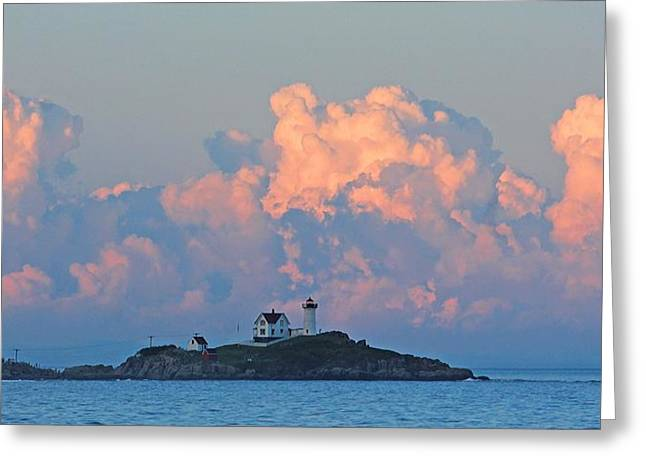 Towering Clouds Over Nubble Lighthouse York Maine Greeting Card by Michael Saunders
