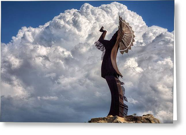 Billowing Greeting Cards - Towering over Wichita Greeting Card by JC Findley