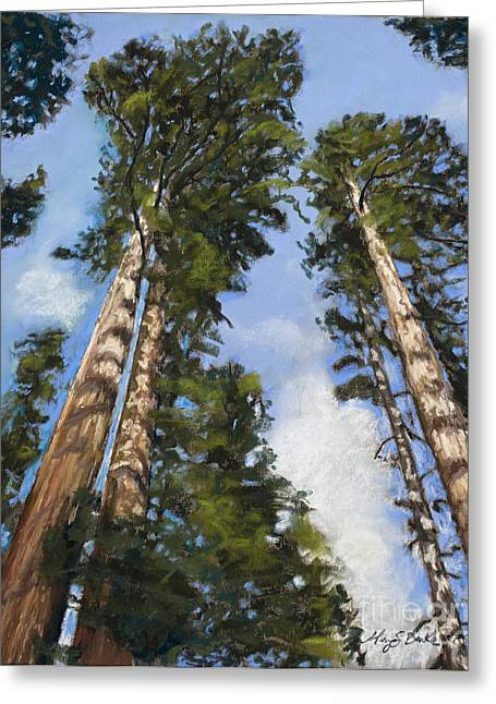 Tourists Pastels Greeting Cards - Towering Sequoias Greeting Card by Mary Benke