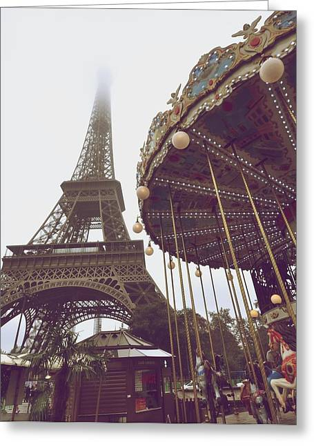 Foggy Day Greeting Cards - Towers and carousels Greeting Card by Matt MacMillan