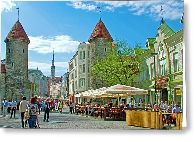 Tallinn Digital Greeting Cards - Towers as Gateways to Old Town Tallinn-Estonia Greeting Card by Ruth Hager