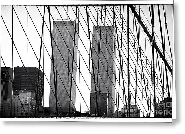 Twin Towers Nyc Greeting Cards - Towers from the Brooklyn Bridge 1990s Greeting Card by John Rizzuto