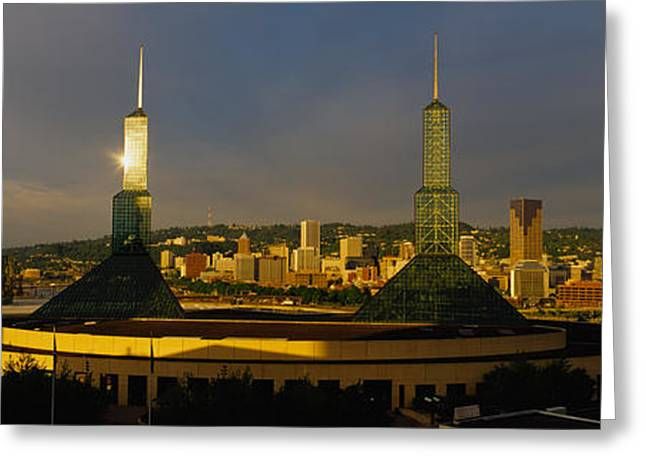 Overcast Day Greeting Cards - Towers Illuminated At Dusk, Convention Greeting Card by Panoramic Images