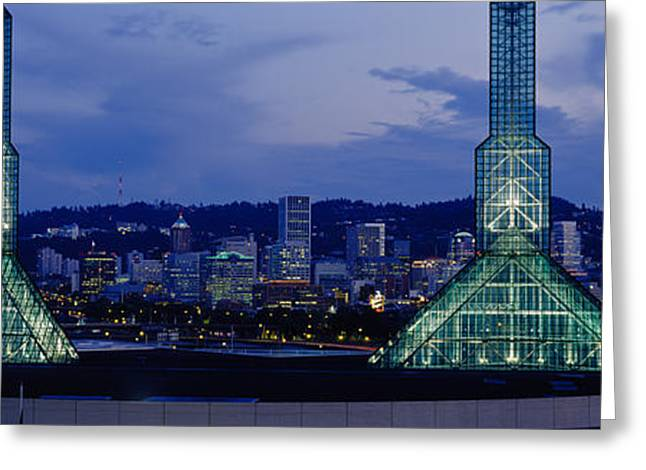 Convention Center Greeting Cards - Towers Lit Up At Dusk, Convention Greeting Card by Panoramic Images