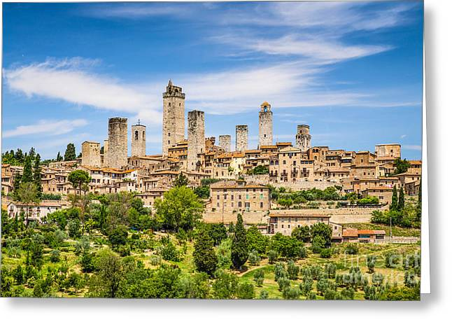 Recently Sold -  - Historic Architecture Greeting Cards - Towers of San Gimignano Greeting Card by JR Photography
