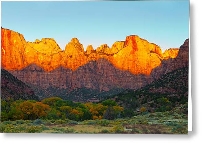 Temple West Greeting Cards - Towers Of The Virgin And The West Greeting Card by Panoramic Images