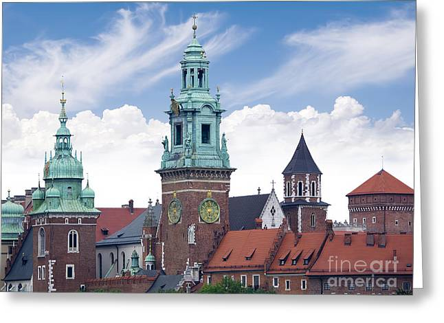 Town Square Greeting Cards - Towers of Wawel Castle Greeting Card by Brenda Kean