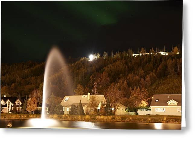 Tauchen Greeting Cards - Town Akureyri. Greeting Card by Erlendur Gudmundsson