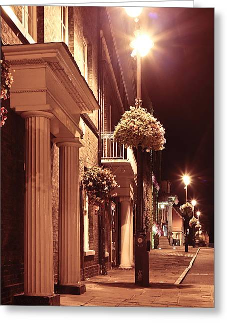 Streetlight Greeting Cards - Town at night Greeting Card by Tom Gowanlock