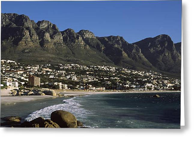Western Cape Greeting Cards - Town At The Coast With A Mountain Range Greeting Card by Panoramic Images