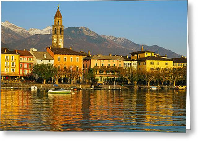 Mountain Greeting Cards - Town At The Waterfront, Ascona, Ticino Greeting Card by Panoramic Images