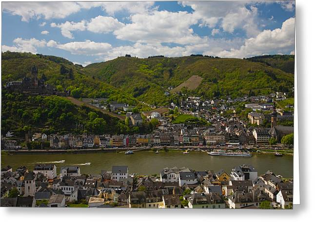River Valley Greeting Cards - Town At The Waterfront, Cochem, Mosel Greeting Card by Panoramic Images