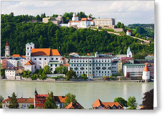 Bavaria Greeting Cards - Town At The Waterfront, Inn River Greeting Card by Panoramic Images