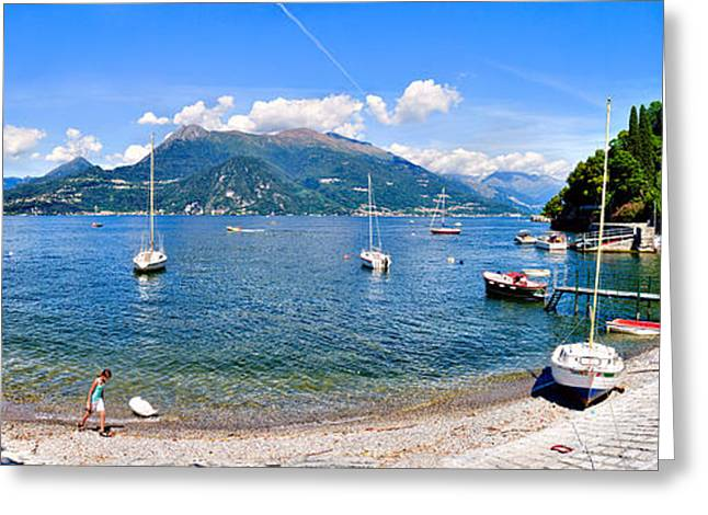 Residential Structure Greeting Cards - Town At The Waterfront, Lake Como Greeting Card by Panoramic Images