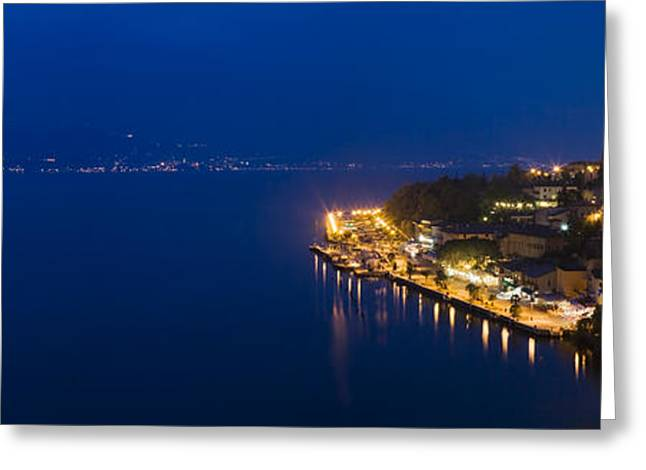 Italian Lake Greeting Cards - Town At The Waterfront, Limone Sul Greeting Card by Panoramic Images