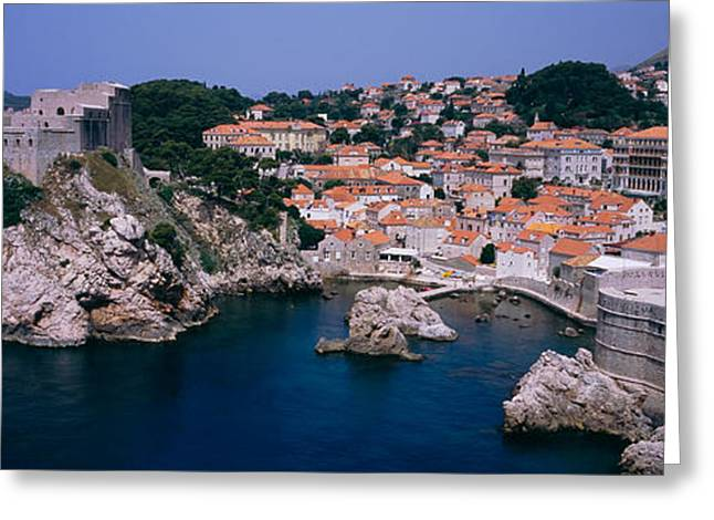 Fortified Wall Greeting Cards - Town At The Waterfront, Lovrijenac Greeting Card by Panoramic Images