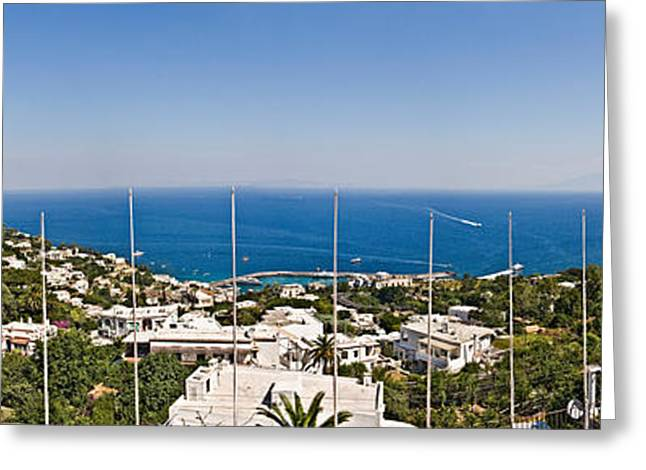 Naples Greeting Cards - Town At The Waterfront, Marina Grande Greeting Card by Panoramic Images