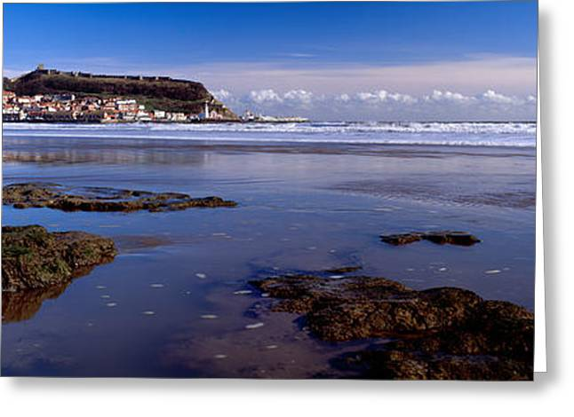 Scarborough Greeting Cards - Town At The Waterfront, Scarborough Greeting Card by Panoramic Images