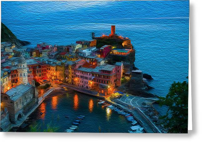 Village By The Sea Greeting Cards - Town by the bay Greeting Card by Carlos Villegas