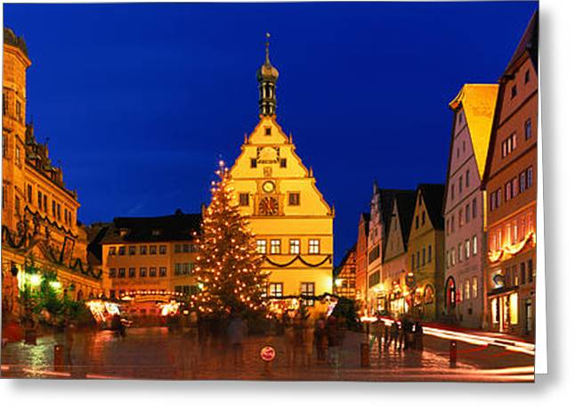 Headlight Greeting Cards - Town Center Decorated With Christmas Greeting Card by Panoramic Images
