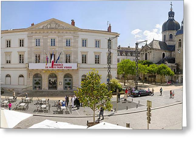Burgundy Greeting Cards - Town Hall And St. Peters Church Greeting Card by Panoramic Images