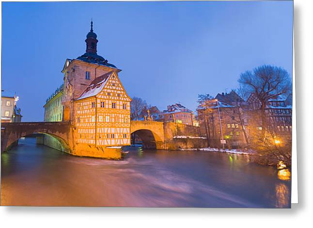 Hall Greeting Cards - Town Hall In A City At Night, Bamberg Greeting Card by Panoramic Images