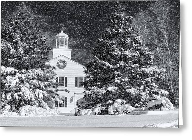 Snow Tree Prints Greeting Cards - Town Hall Of Wellfleet In Winter Greeting Card by Dapixara