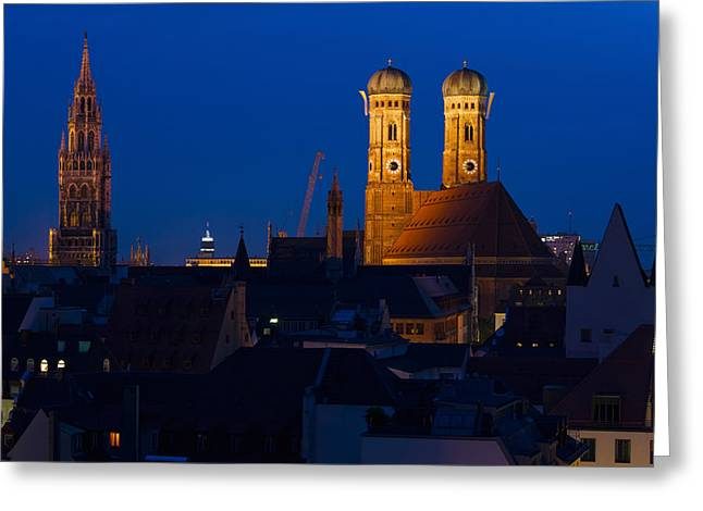 Frauenkirche Greeting Cards - Town Hall With A Church At Night Greeting Card by Panoramic Images