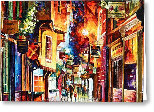 Old Street Greeting Cards - Town In england Greeting Card by Leonid Afremov
