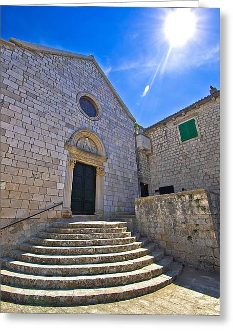 Franciscian Greeting Cards - Town of Hvar old Franciscan monastery Greeting Card by Dalibor Brlek