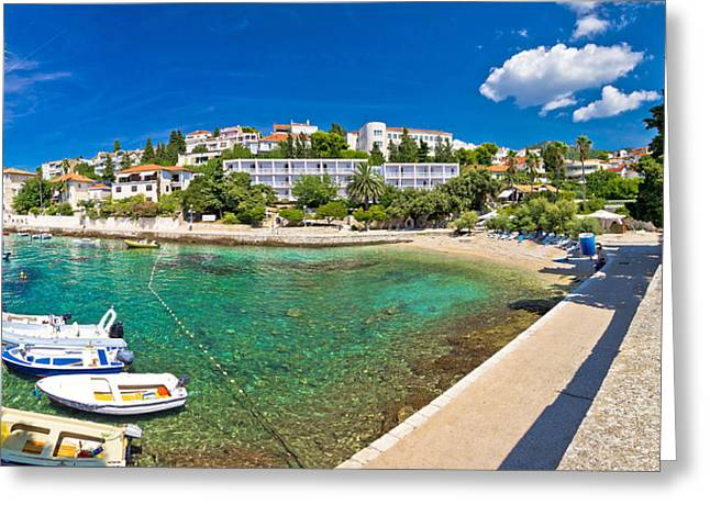 Baslica Greeting Cards - Town of Hvar turquoise waterfront view Greeting Card by Dalibor Brlek