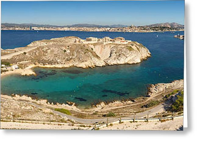 Mountain Road Greeting Cards - Town Of Marseille In The Background Greeting Card by Panoramic Images