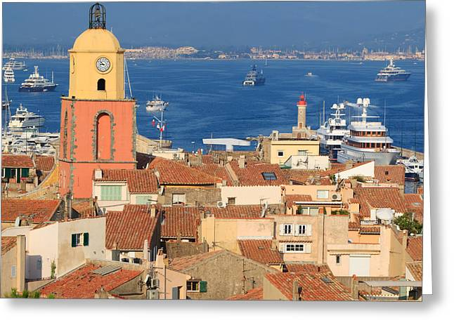 St.tropez Greeting Cards - Town of St Tropez Cote dAzur France Greeting Card by Matteo Colombo