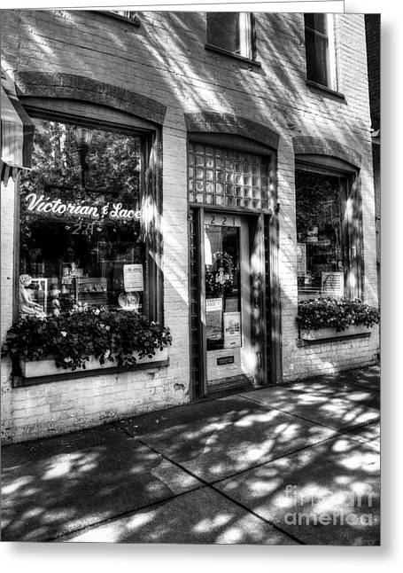 Rising Sun Greeting Cards - Town Of The Rising Sun 3 BW Greeting Card by Mel Steinhauer