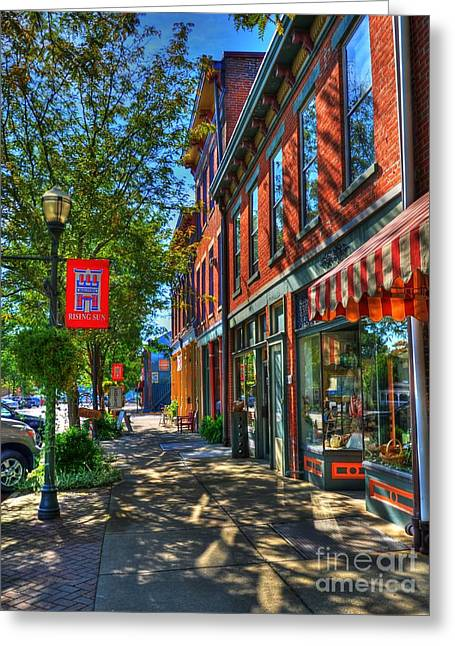 Main Street Greeting Cards - Town Of The Rising Sun Greeting Card by Mel Steinhauer