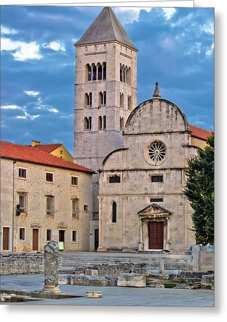 Europe Greeting Cards - Town of Zadar historic church Greeting Card by Dalibor Brlek