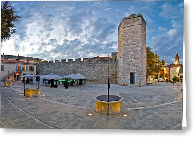 Wellspring Greeting Cards - Town of Zadar square evening view Greeting Card by Dalibor Brlek