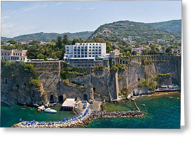 Residential Structure Greeting Cards - Town On A Cliff, Sorrento, Naples Greeting Card by Panoramic Images