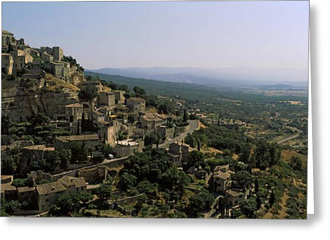 Vaucluse Greeting Cards - Town On A Hill, Gordes, Vaucluse Greeting Card by Panoramic Images